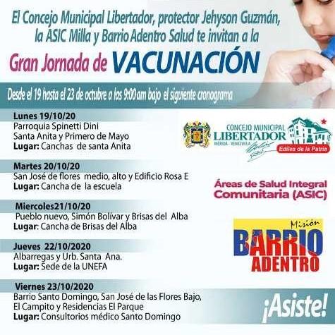 Diario Frontera, Frontera Digital,  CONCEJO MUNICIPAL DEL LIBERTADOR, Regionales, ,Efectuarán Jornada de vacunación en Mérida esta semana