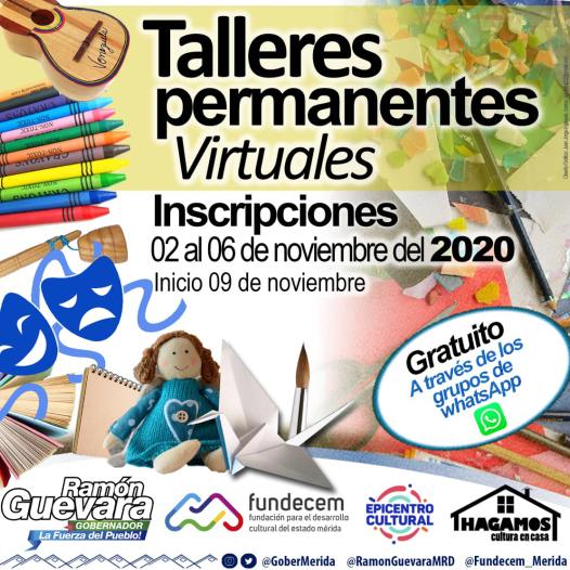 Diario Frontera, Frontera Digital,  CURSOS VIRTUALES, FUNDECEM, GOBIERNO DE MÉRIDA, Regionales, ,Talleres virtuales de Fundecem comenzarán el próximo 9 de noviembre