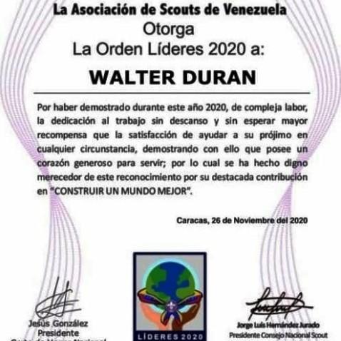 Diario Frontera, Frontera Digital,  ASOCIACIÓN SCOUTS DE VENEZUELA, ALBERTO ADRIANI, Panamericana, ,SCOUTS DE VENEZUELA OTORGO RECONOCIMIENTO  DE LÍDER 2020 A  WALTER DURAN DE EL  VIGÍA