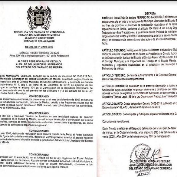 Diario Frontera, Frontera Digital,  FERIADO NO LABORABLE, Regionales, ,Alcalde Alcides Monsalve decreta Feriado o Laborable  este #21Feb en el municipio Libertador