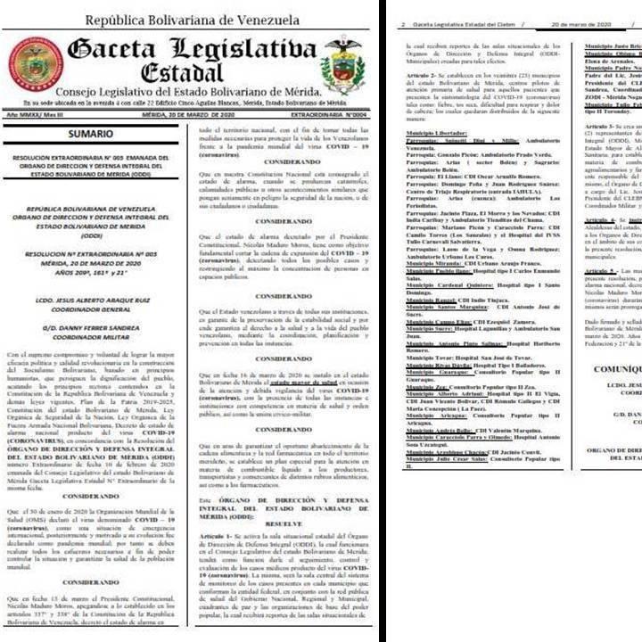 Diario Frontera, Frontera Digital,  GACETA LEGISLATIVA DE MÉRIDA, ODDI MÉRIDA, Regionales, ,Clebm publica la Gaceta extraordinaria Nº 003 de la ODDI Estadal