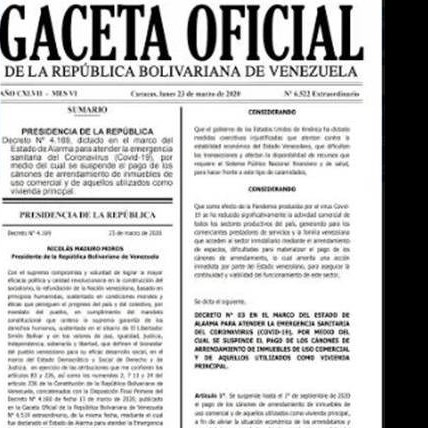 Diario Frontera, Frontera Digital,  GACETA OFICIAL, Nacionales, ,Ministerio de Comercio Nacional da cumplimiento al Decreto  que suspende canon de arrendamiento de uso comercial