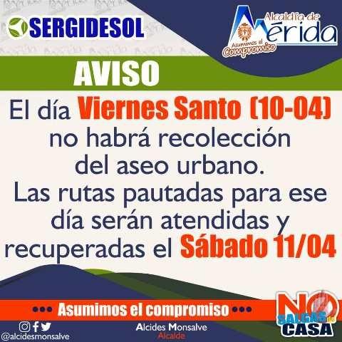 Diario Frontera, Frontera Digital,  SERGIDESOL, Regionales, ,Alcaldía de Mérida anuncia horarios de recolección  de desechos sólidos en Semana Santa