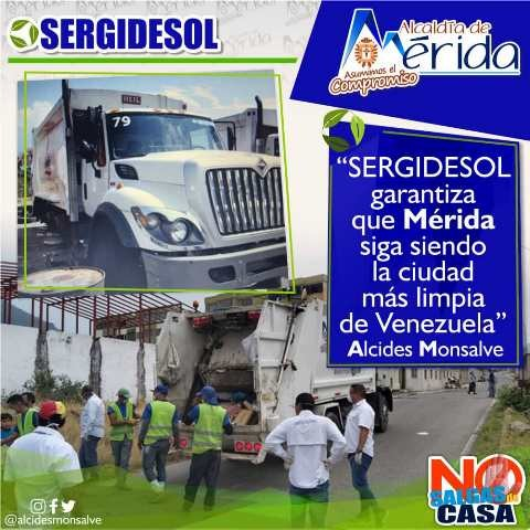 Diario Frontera, Frontera Digital,  SEGIDESOL, ALCALDÍA DE MÉRIDA, SERGIDESOL, Regionales, ,Sergidesol garantiza que Mérida siga siendo la ciudad más limpia de Venezuela