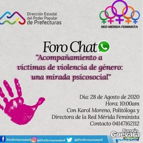 Diario Frontera, Frontera Digital,  GOBIERNO DE MÉRIDA, Regionales, ,Dirección de Prefecturas dictará  foro chat para víctimas de violencia de género