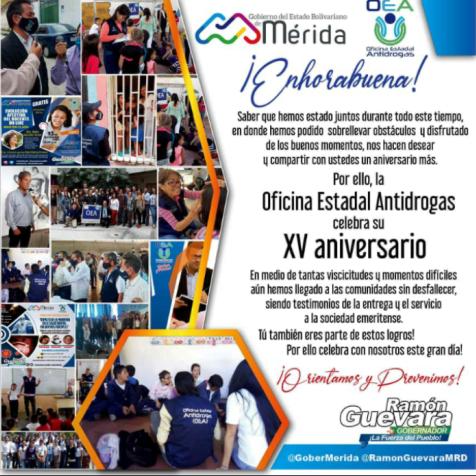 Diario Frontera, Frontera Digital,  OFICINA ESTADAL ANTIDROGAS, Regionales, ,Oficina Estadal Antidrogas celebra 15 años  al servicio del pueblo merideño