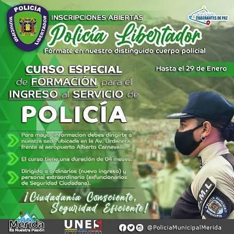 Diario Frontera, Frontera Digital,  PÓLICÍA MUNICIPAL DEL LIBERTADOR, Regionales, ,Abierta captación especial de efectivos para la Policía Municipal de Libertador