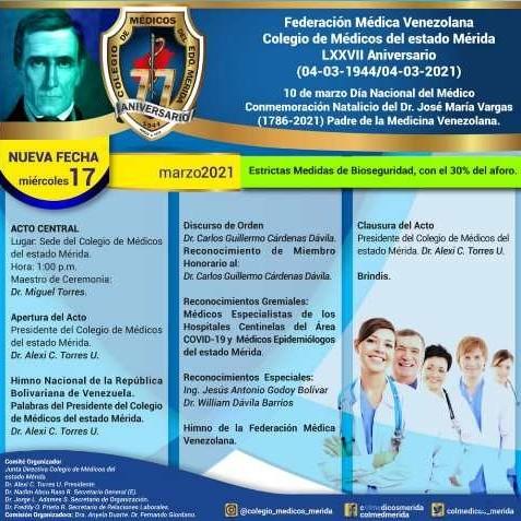 Diario Frontera, Frontera Digital,  ACTOS DEL DÍA DEL MÉDICO, COLEGIO DE MÉDICOS DE MÉRIDA, Regionales, ,Actos del Día del Médico se realizan este miércoles