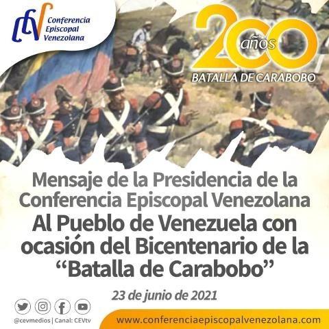 Diario Frontera, Frontera Digital,  CEV, Nacionales, ,Presidencia de la Conferencia Episcopal Venezolana  comparte mensaje con ocasión del Bicentenario de la Batalla de Carabobo