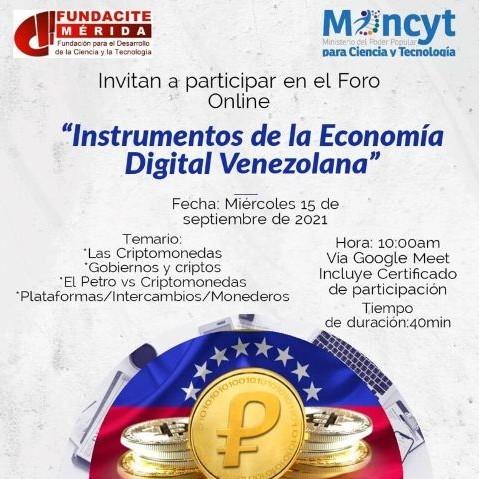 """Diario Frontera, Frontera Digital,  FUNDACITE MÉRIDA, Tecnología, ,Fundacite Mérida dictará foro virtual sobre  """"Instrumentos de la Economía Digital Venezolana"""""""