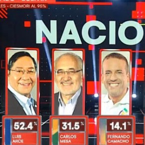 Diario Frontera, Frontera Digital,  BOLIVIA, Internacionales, ,Según datos de conteo rápido: Luis Arce del MAS  gana en primera vuelta con 52,4%